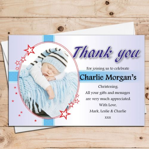 10 Personalised Boys Christening Baptism PHOTO Thank you Cards N31